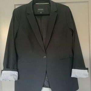 Black long and lean fit washable wool blend blazer